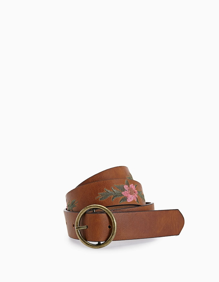 Embroidered floral belt with round buckle