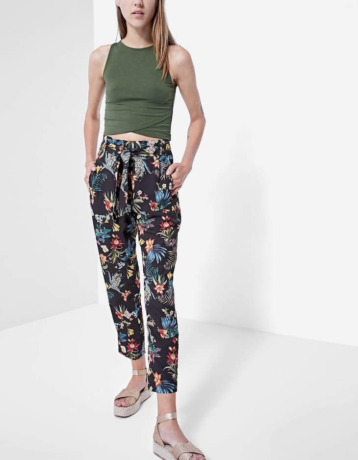 Floral paperbag trousers