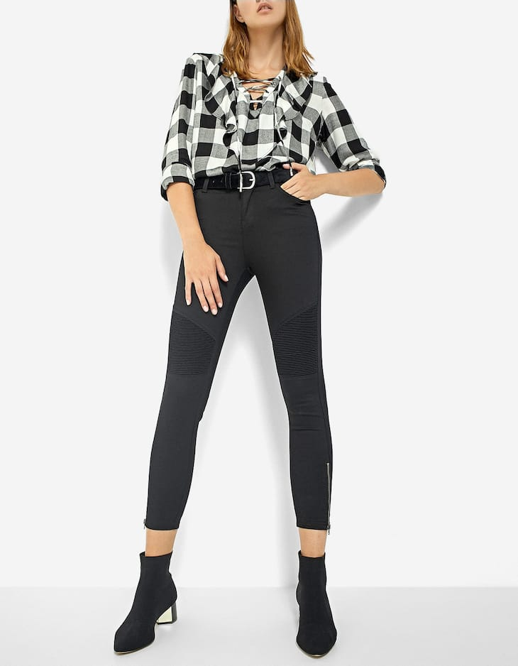 Ankle zip biker trousers