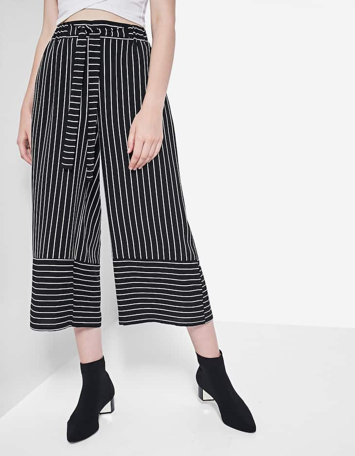 Striped print flowing culottes