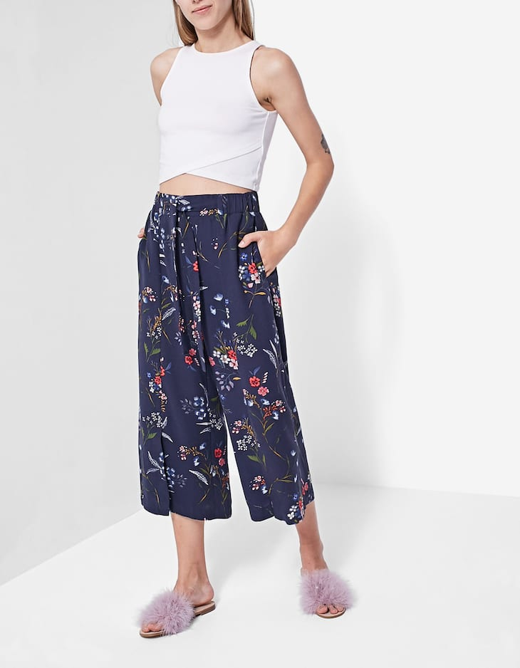 Printed flowing culottes