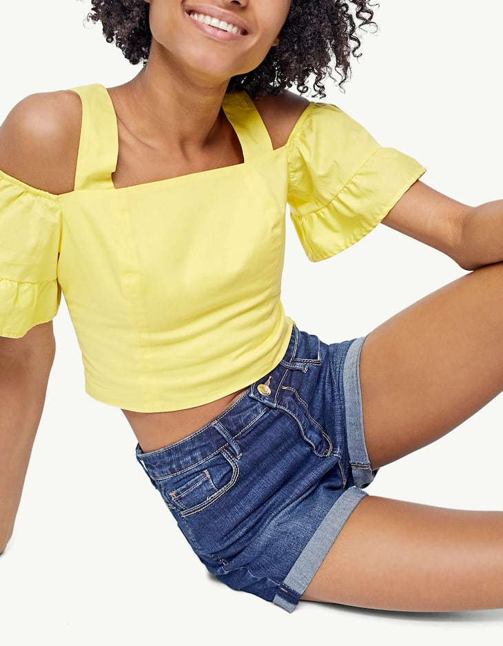 Pantalons curts denim super high waist