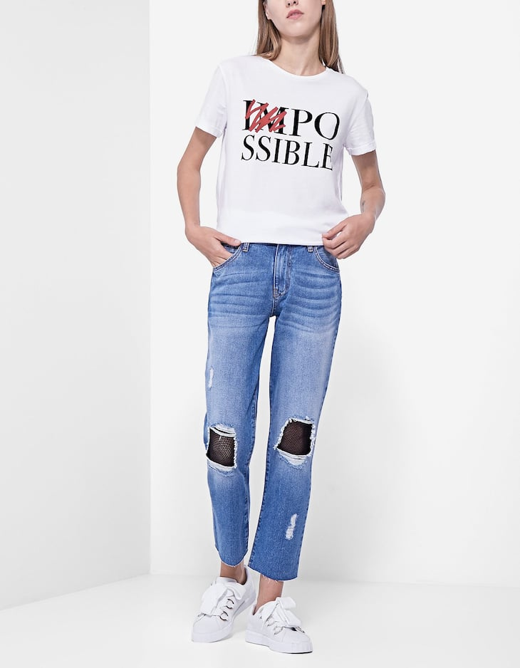 Straight jeans with mesh