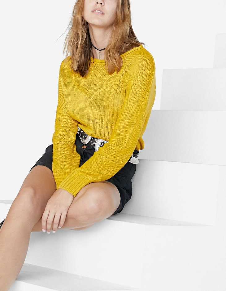 Sweater with cinched waist