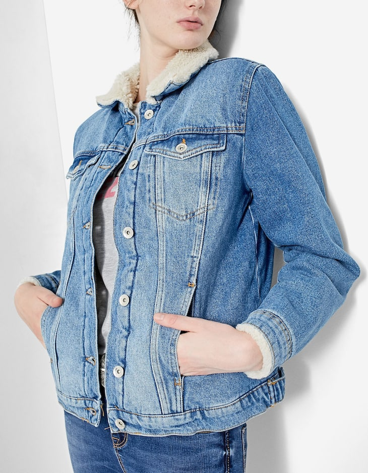 Denim jacket with sheepskin detail