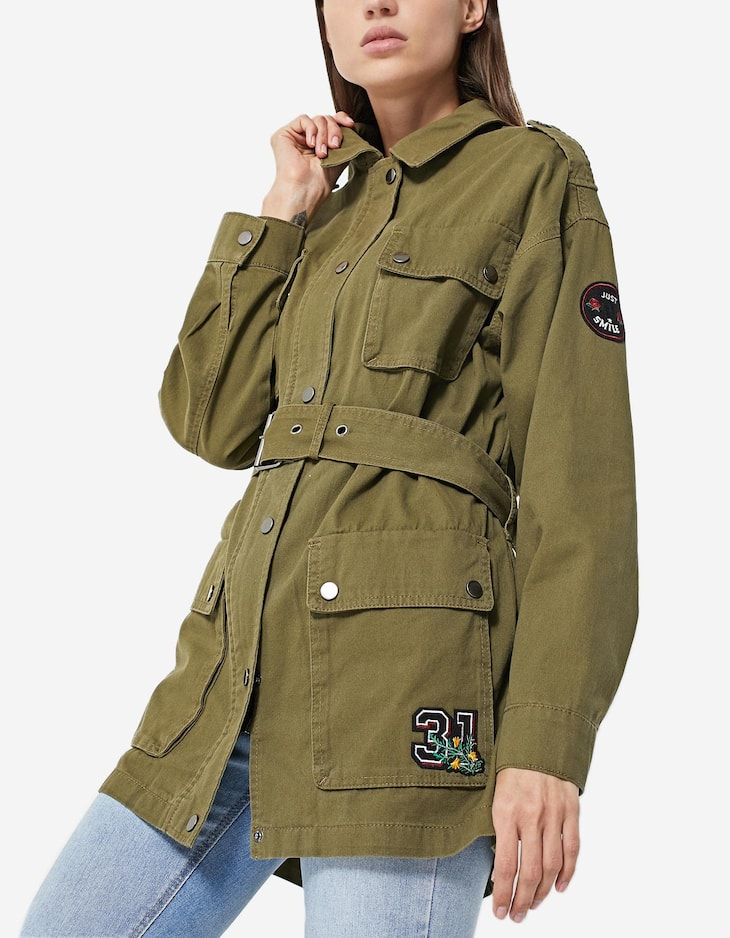 Safari jacket with patch detail