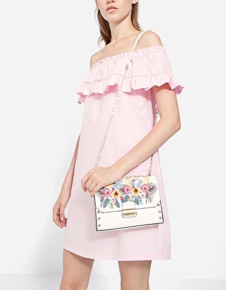 Off-the-shoulder poplin dress