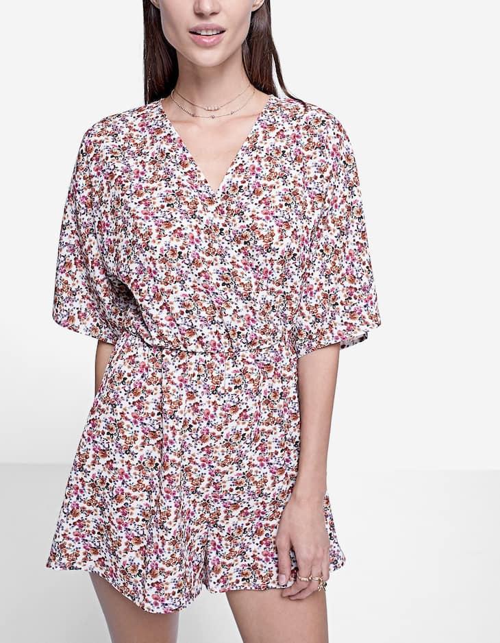 Printed kimono jumpsuit