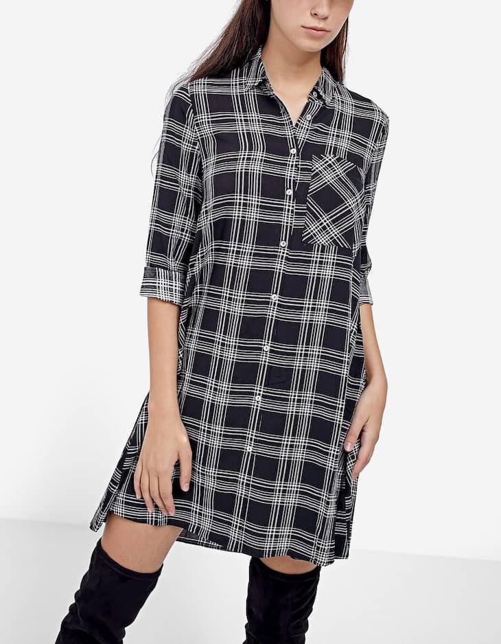 Платье-рубашка с принтом и рукавами длиной три четверти