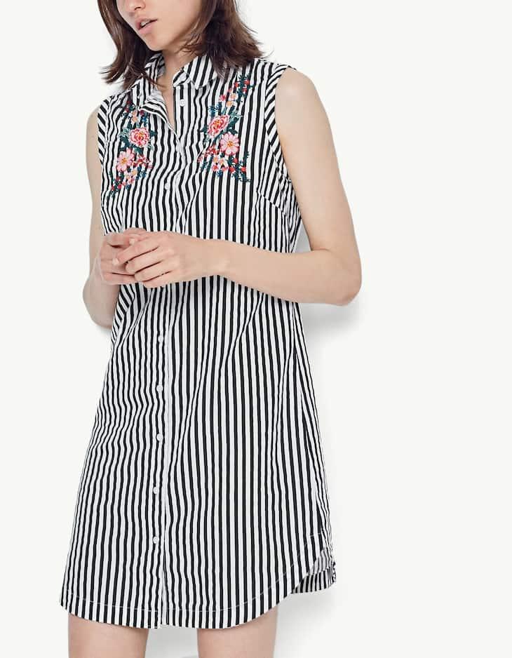 Embroidered shirt dress