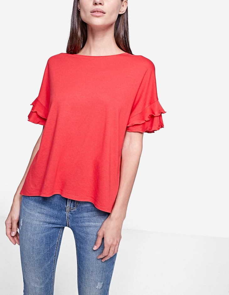 Top with sleeve frill detail