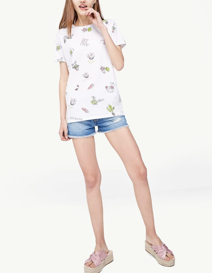 All over cactus print T-shirt