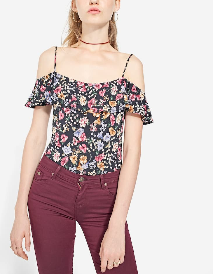 Floral print bodysuit with ruffles
