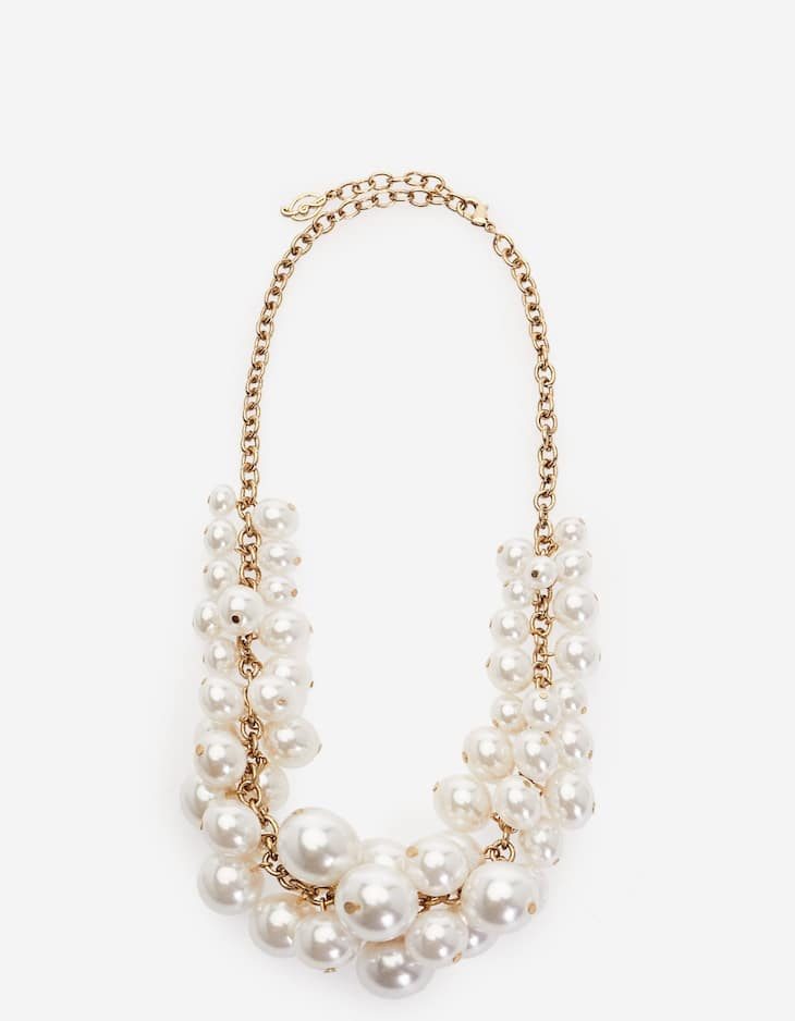 Large faux pearls necklace