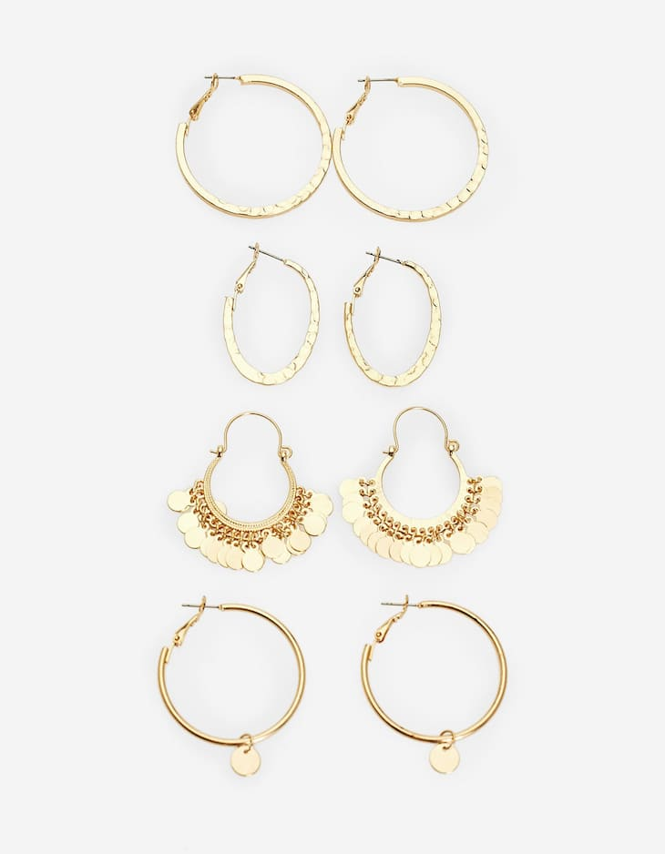 Set of 4 hoop earring with coin charms