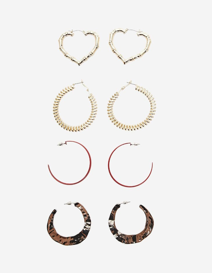 Set of 4 pairs of metal hoop earrings