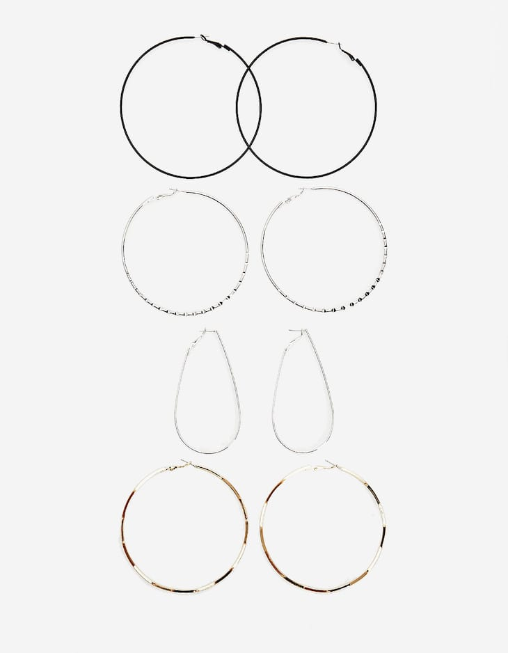 Set of 4 large hoop earrings