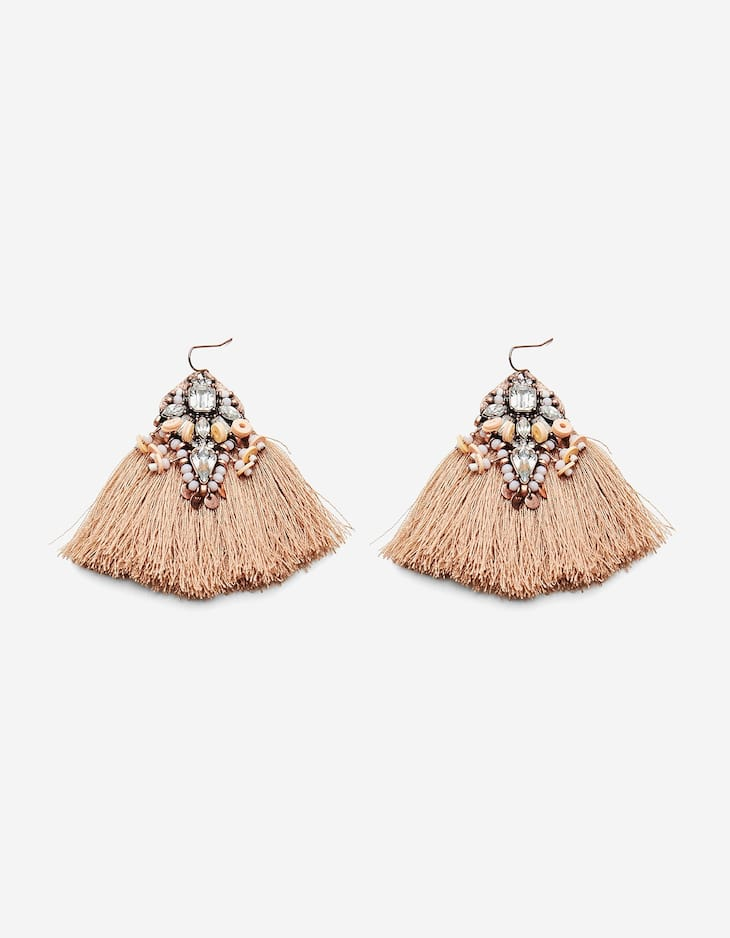Pink earrings with stones and tassels