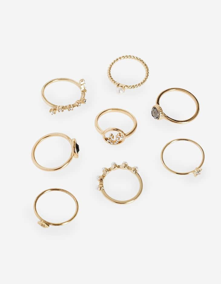 Set of 8 thin tarot constellation rings