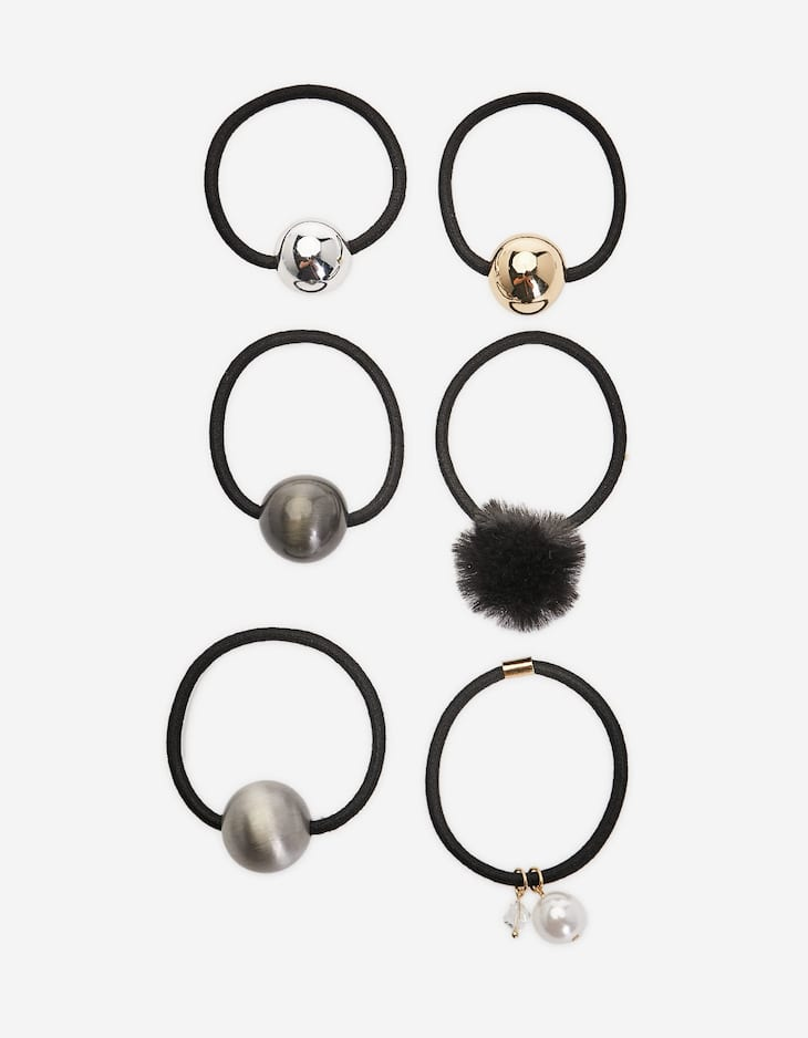 Set of 6 hair ties with ball beads