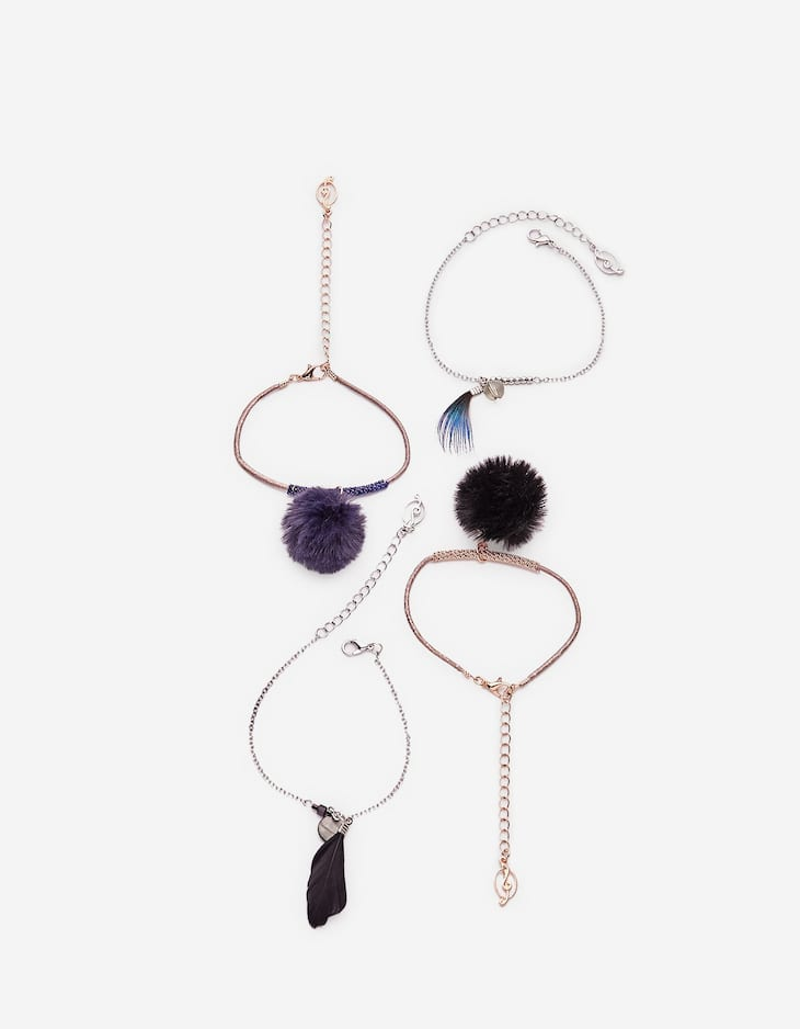 Set of 4 bracelets with feathers and faux fur balls