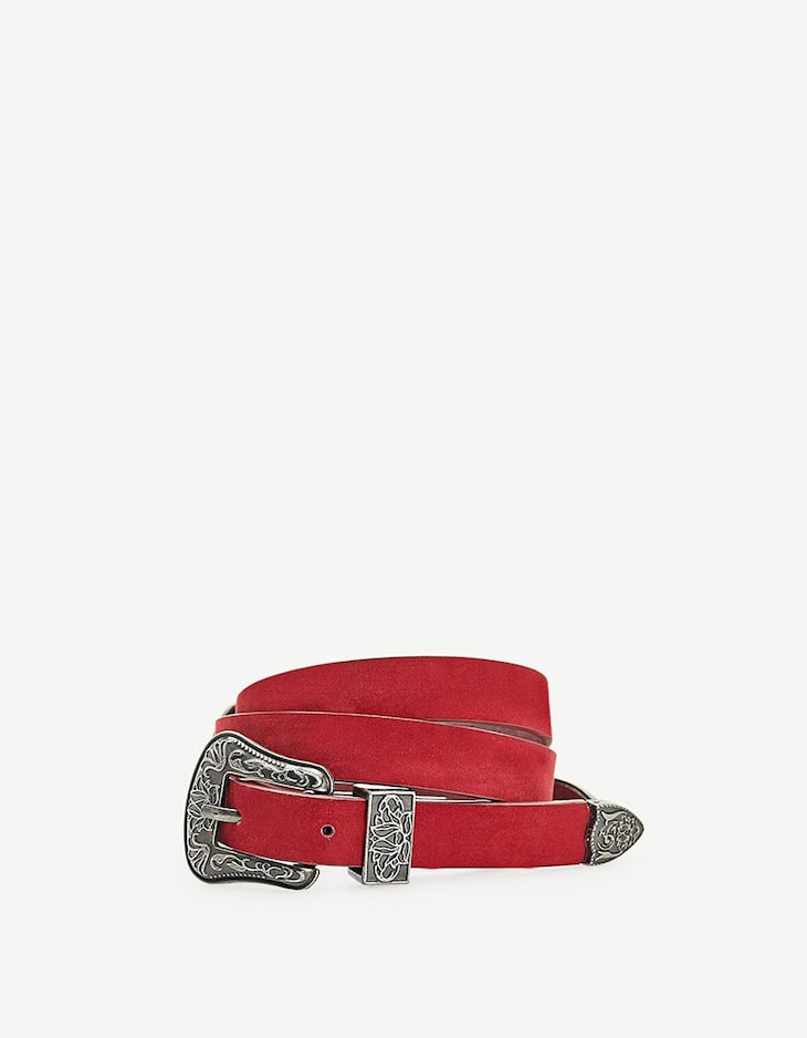 Faux suede cowboy-style belt with double buckle