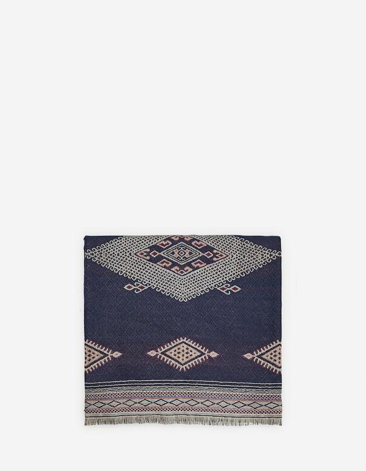 Folk-style diamond motif scarf