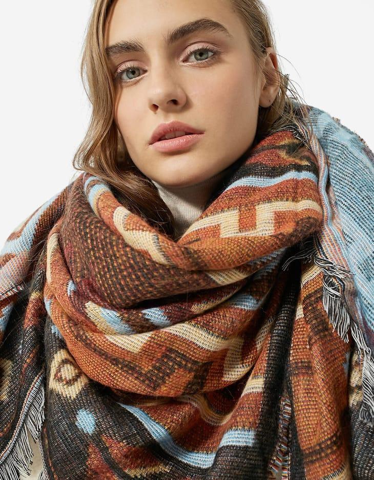 Earth brown folk scarf