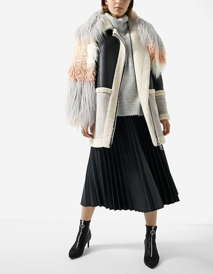 Textured faux fur patchwork scarf
