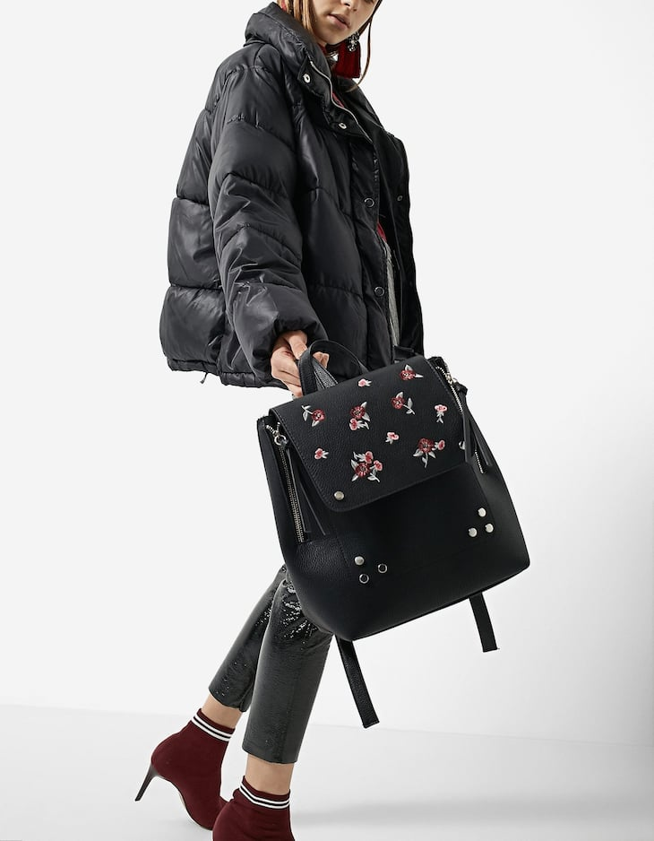 Embroidered backpack with zips