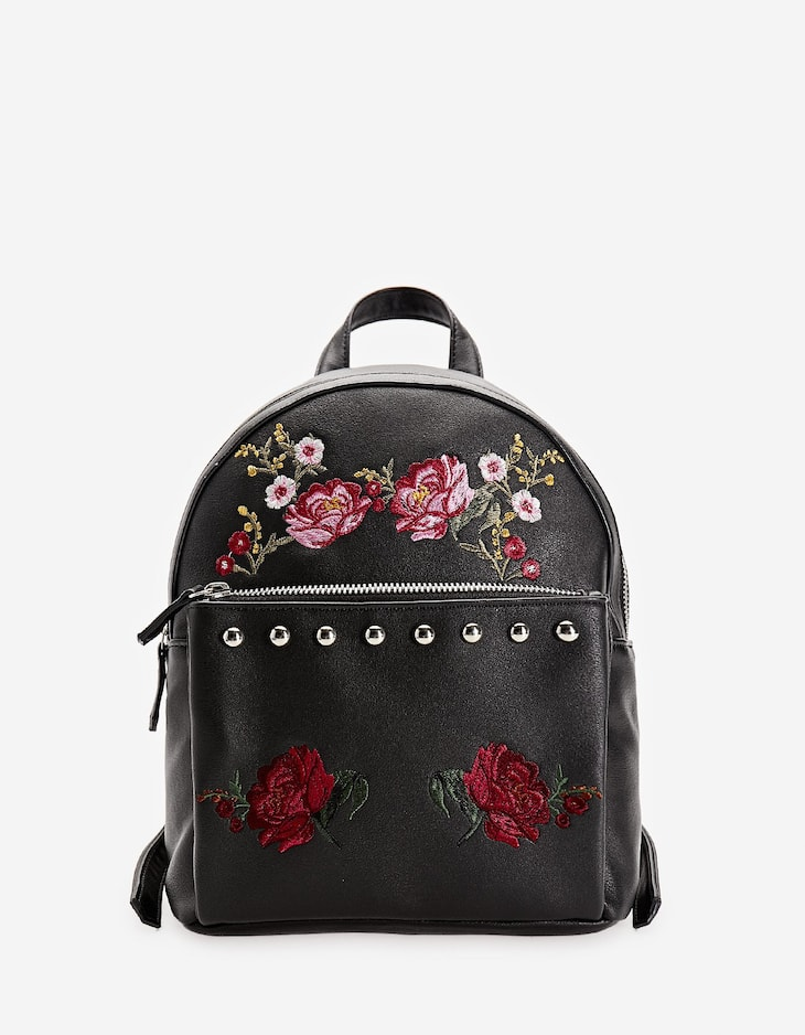 Embroidered backpack with studs