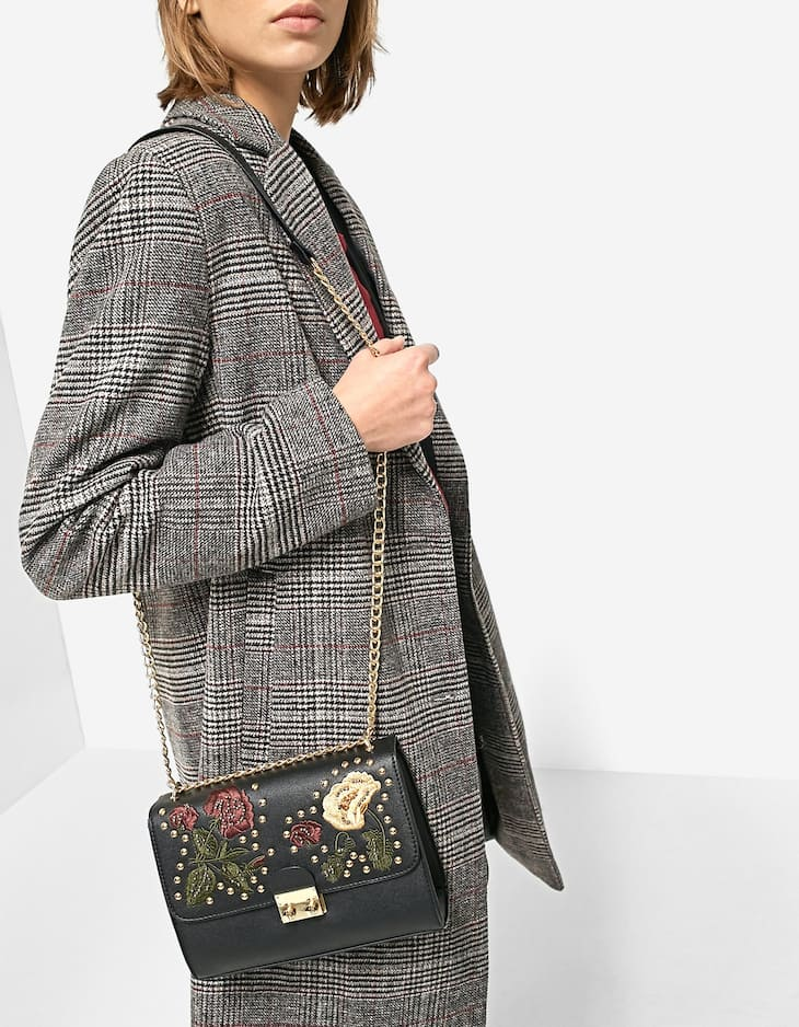 Floral crossbody bag with beading