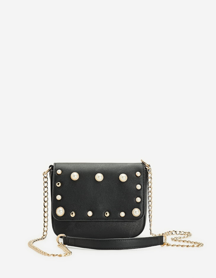 Mini crossbody bag with faux pearls