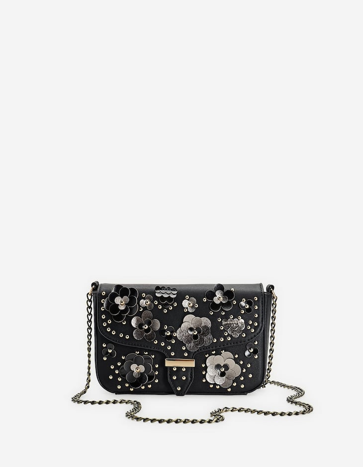 Floral crossbody bag with studs