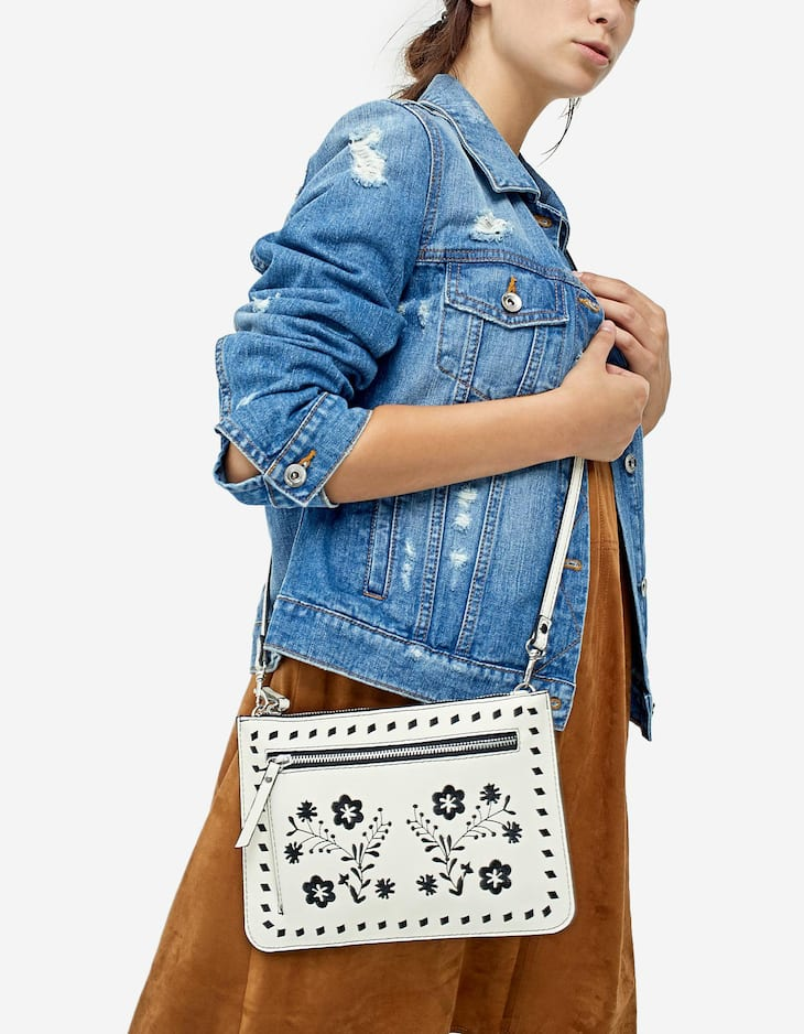 Flat embroidered crossbody bag