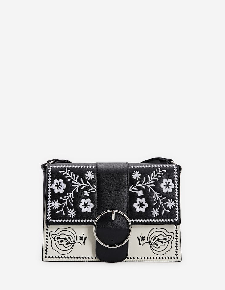 Embroidered two-tone crossbody bag