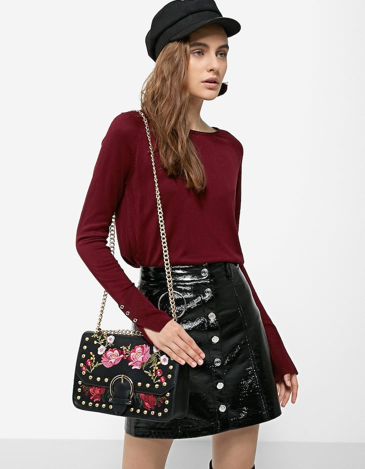 Crossbody bag with floral embroidery