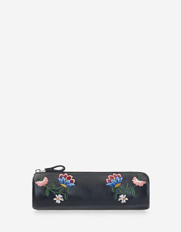 Case with floral embroidery