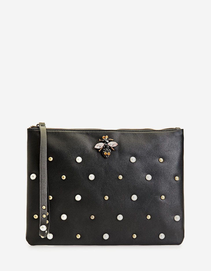 Clutch with faux pearls
