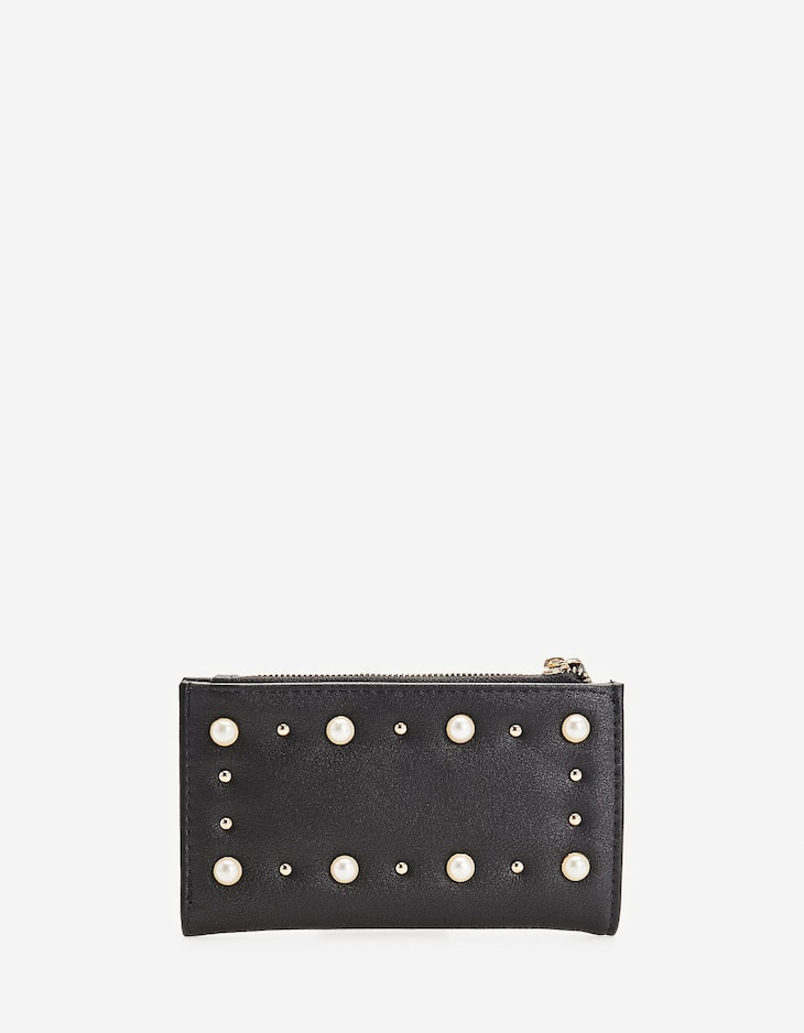 Faux pearl embellished purse
