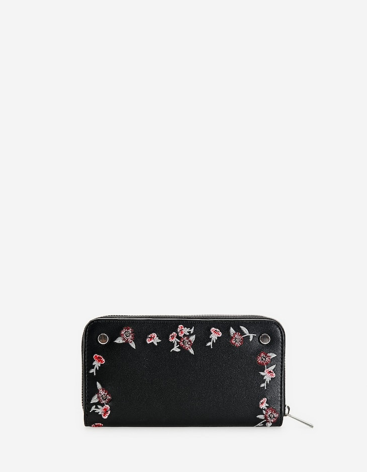 Floral purse with zips