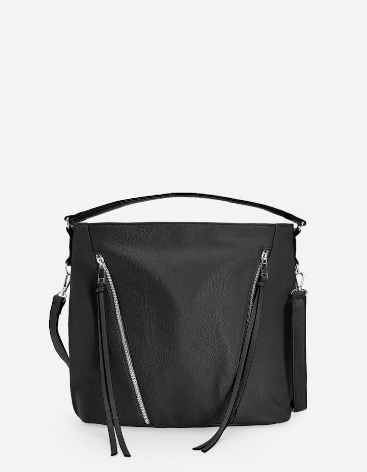 Crossbody bag with zips
