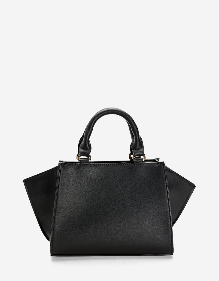 Mini tote with contrasting handle