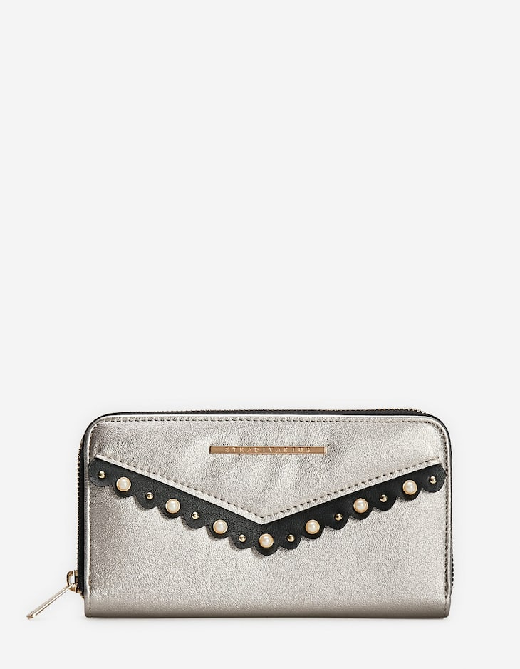 Faux pearl-embellished purse with zip