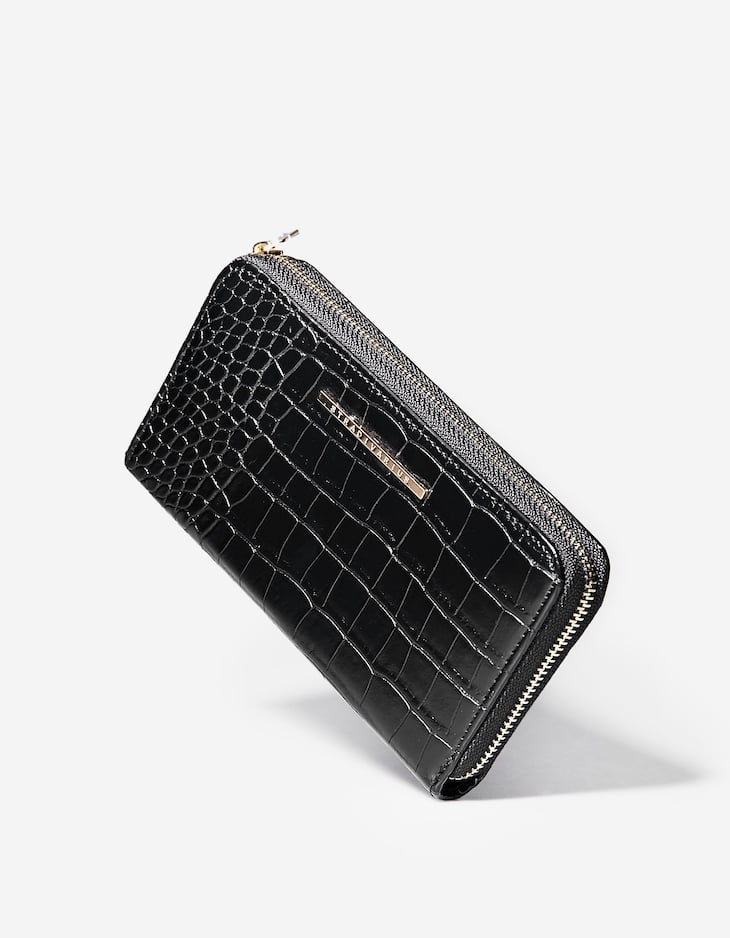Embossed purse with zip