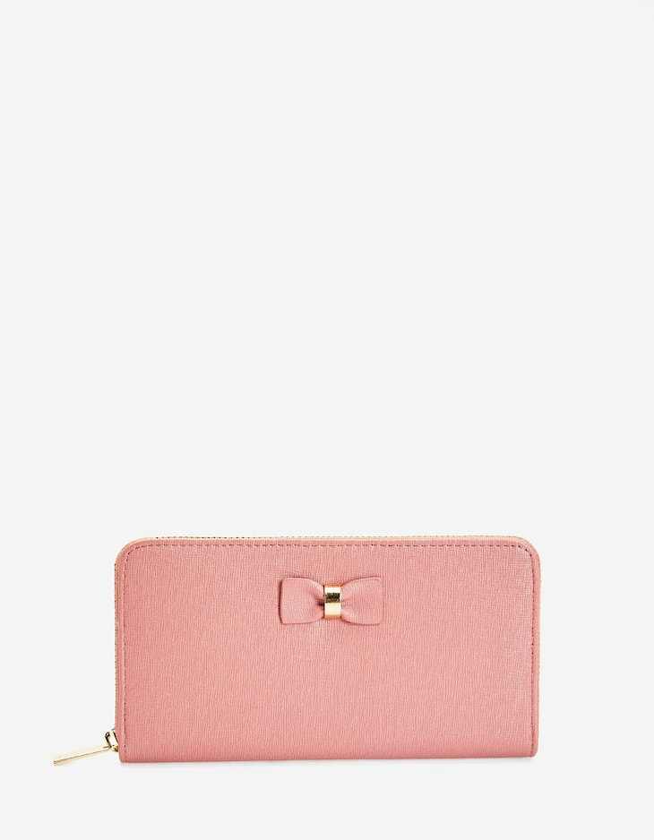 Wallet with zip and bow
