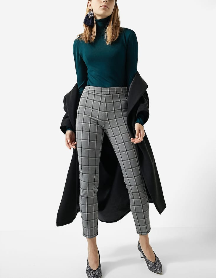 Checked cigarette fit trousers