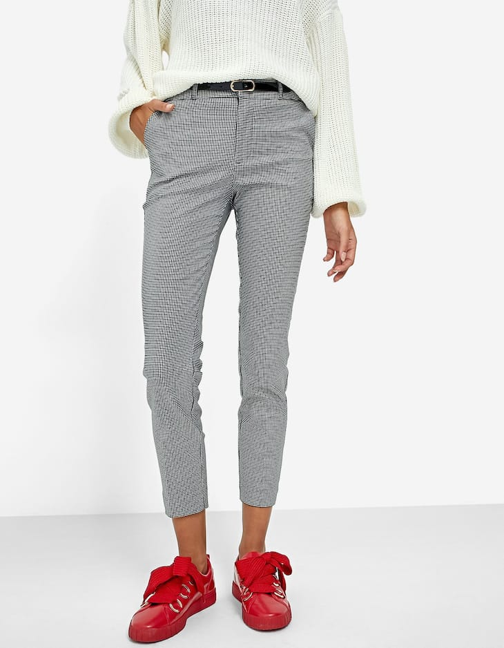 Printed trousers with belt
