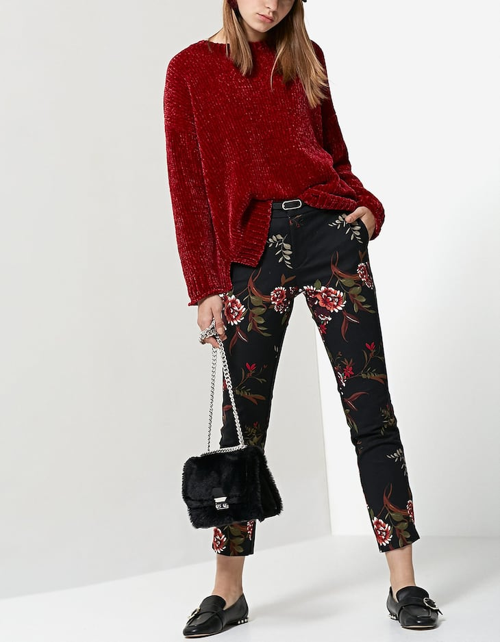 Smart printed trousers with belt
