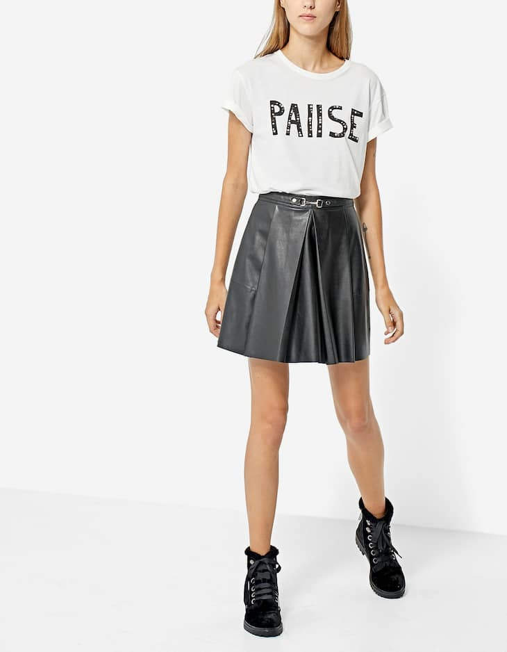 Faux leather A-line skirt with buckle
